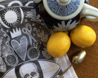 Set of 3 hand-printed tea-towels