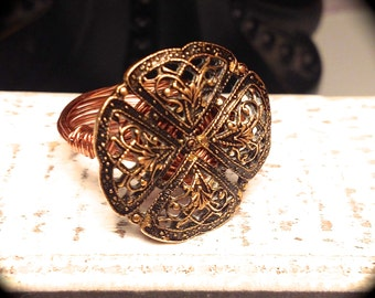 Antique Button Ring - Wire Ring