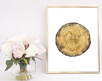 A4 Personalised Initials Lovers Carved Tree print