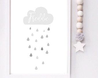 Personalised rain cloud nursery toddler room print