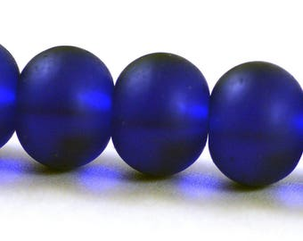 Recycled Cultured Sea Glass Rondelle Beads Matte Cobalt Blue 14x11mm