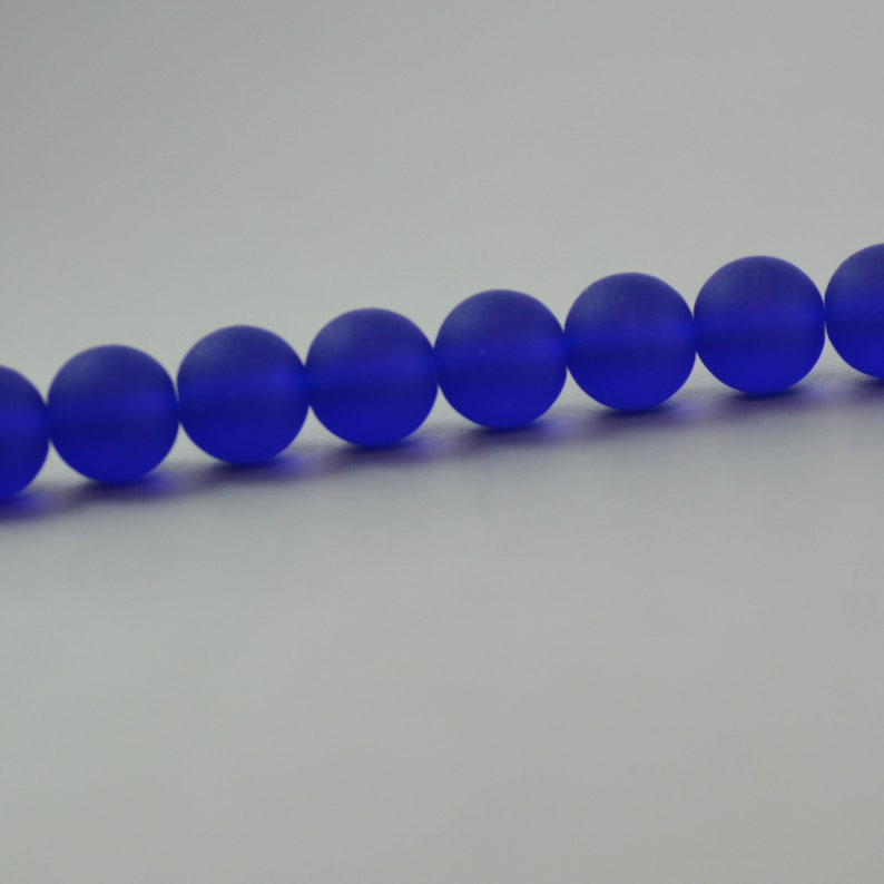 Recycled Eco Friendly Cultured Sea Glass Round Beads Cobalt Royal Bright Blue Matte 10mm