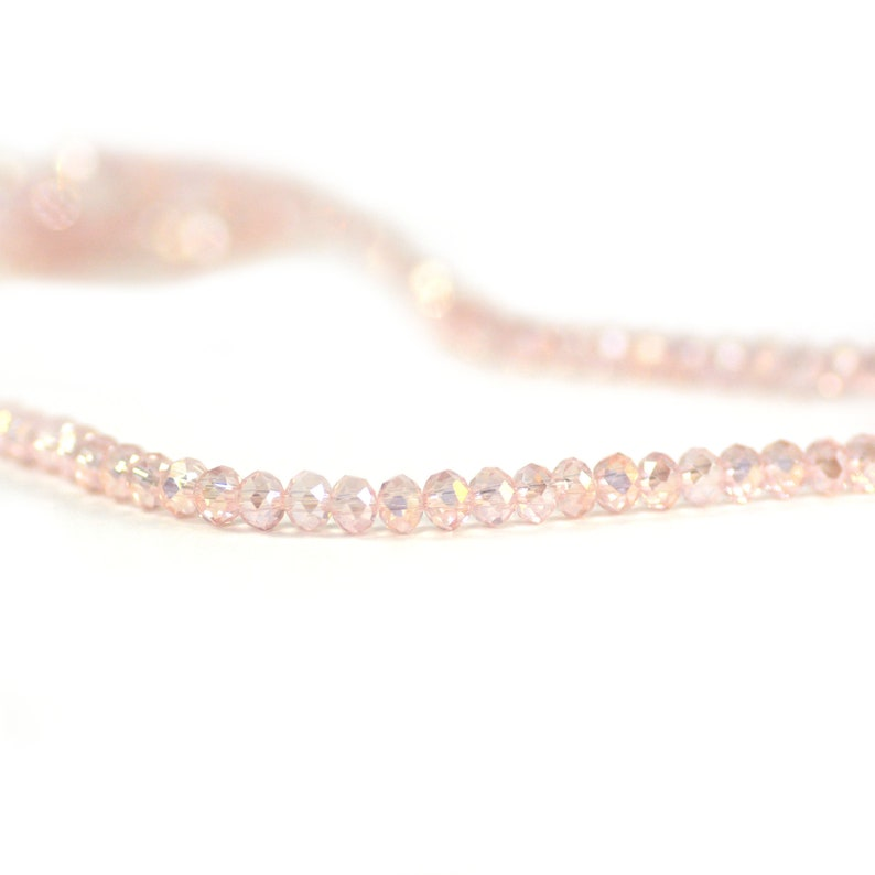 Chinese Crystal Tiny Rondelles Beads Transparent Rosaline Pale Peachy Pink AB Finish 3x4mm