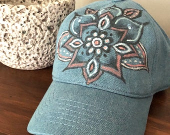 Hand Painted Black Baseball Hat, Mandala Hat