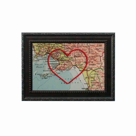 Amalfi Coast Heart Map Hand Embroidered Map Paper Cotton Anniversary Wedding Gift For Her Travel Love Engagement Gift Italy Map Art