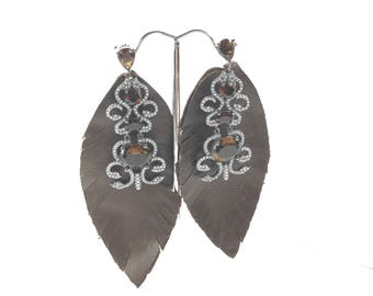 Dazzled Leather Leaf Earrings