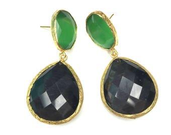 Beveled Double Crystal Earrings