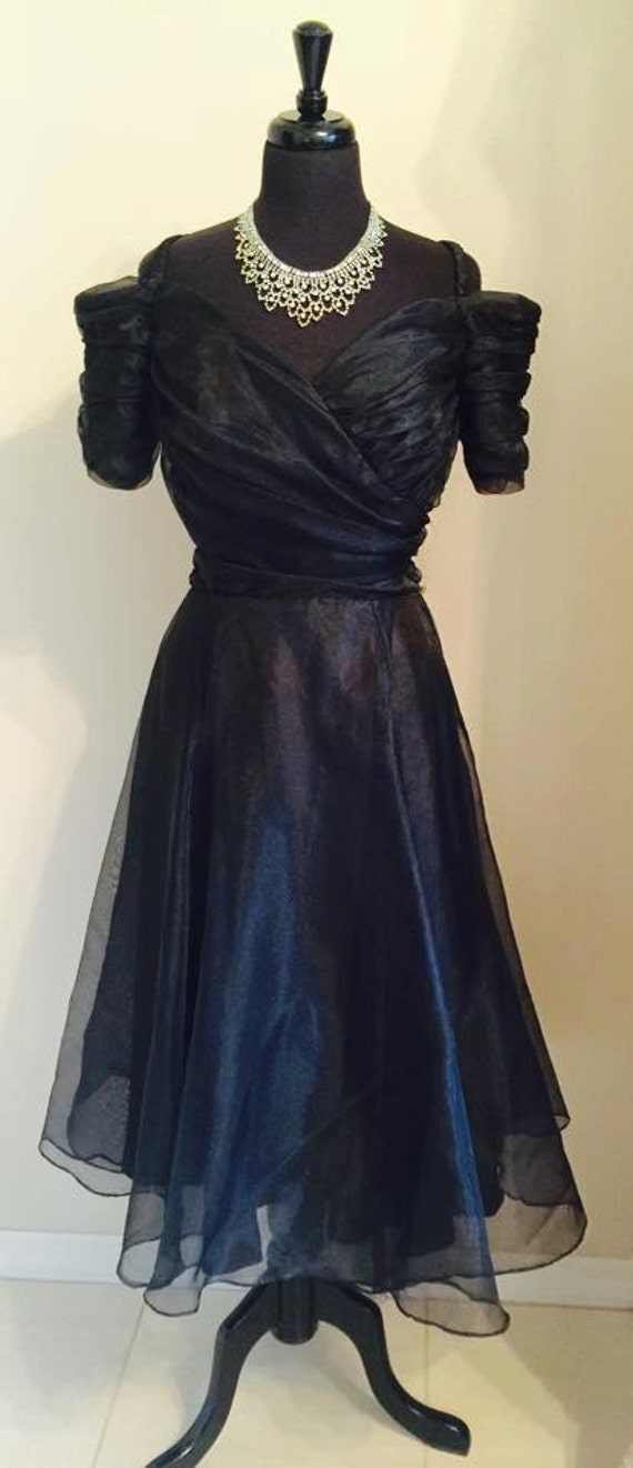 Beautiful Georgette Off Shoulder Cocktail Dress