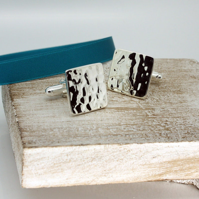Square Hammered Sterling Silver Cufflinks