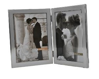 Personalised Wedding Brushed and Shiny 5x 7 Double Frame