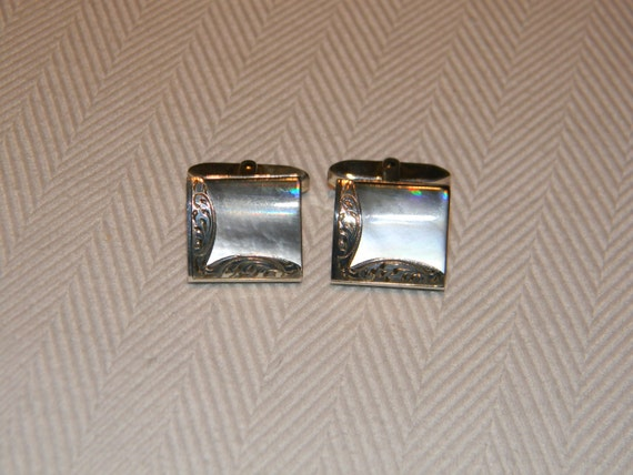 Arriaca Vintage Mexican Taxco Sterling Silver Mixed Metals Onyx Turquoise Inlay Modernist Egyptian Revival Cufflinks by H