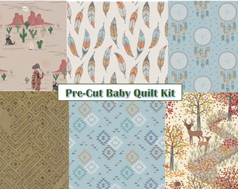 Pre-Cut Baby Quilt Kit-Dream Catcher-DIY-Native Print-Fall-Nature-Deer-Hedgehogs-Geometric Print-Modern Quilting-Quilting fabric-Wild Woods