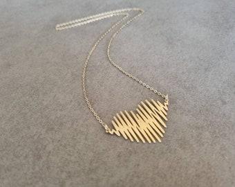Heartbeat Necklace, Gold Heart Necklace, Gold Heart, Gold Necklace, Geometric Heart Necklace, Mom Necklace, Heart Jewelry, Anniversary Gift