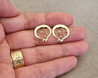 Gold Pomegranate Earrings, Gold Earrings, Stud Earrings, Gold Post Earrings, Pomegranate Studs, Small earrings, gold studs, Gift For Her