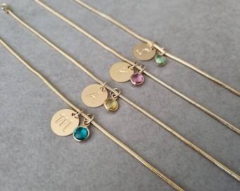 Bridesmaid bracelet, Gold Initial Bracelet, Personalised Bridesmaid Gift, Bracelet, Wedding Gifts, Charm Bracelet, Custom Letter Bracelet