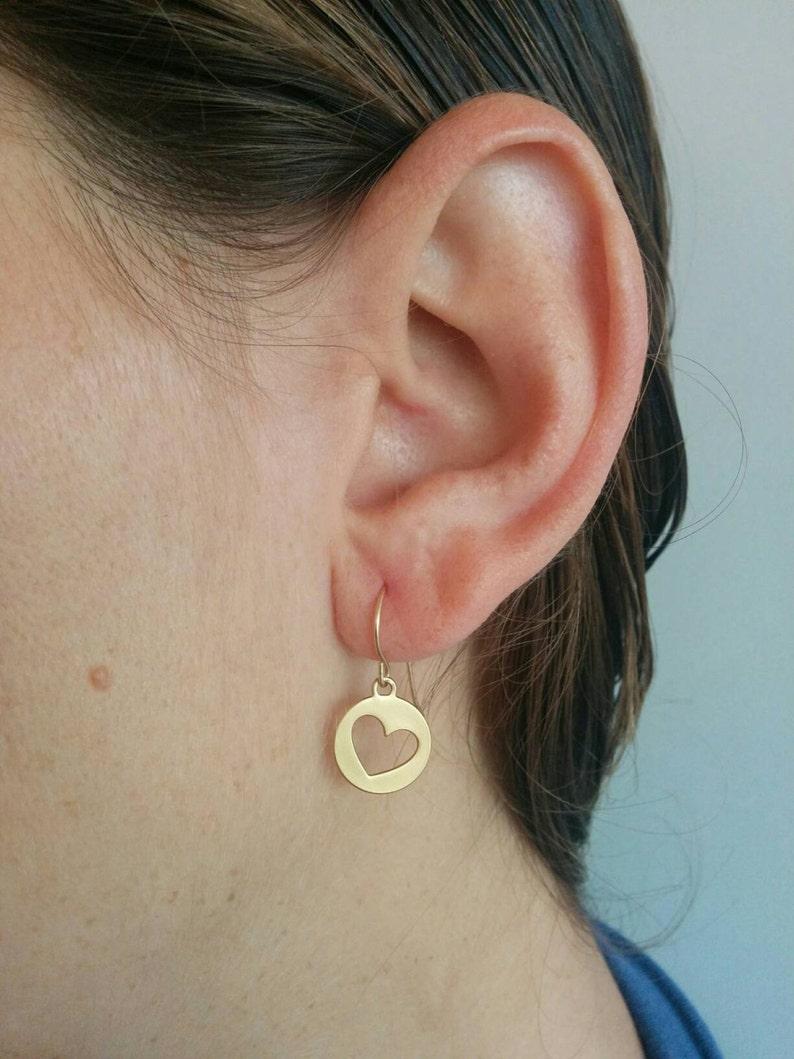 Girls Earrings Girls Gift Gold Heart Gift For Her Small Heart Earrings Gold Heart Earrings Valentine\u2019s Day Gift Dangle Earrings