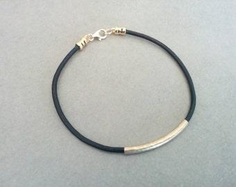 Leather Bracelet, womens leather bracelet , Leather Tube Bracelet, Brown leather bracelet, Beige leather bracelet