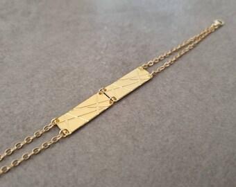 Geometric Bracelet, Gold Cain Bracelet, Gold Bracelet, Square Braceler, Bangle Bracelet, Wedding Jewelry, Triangle Bracelet, Unique Bracelet