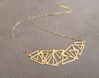 Triangle Necklace, Gold Triangle, Geometric Necklace, Gold Necklace, Delicate Necklace, Geometric Jewelry, Necklace, Triangle Jewelry
