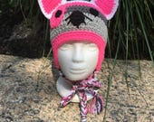 Crochet Kitty Hat Crochet Kitty Beanie Kitty Cat Beanie Crochet Ear Flap Girls Hat Cat Beanie Crochet Beanie