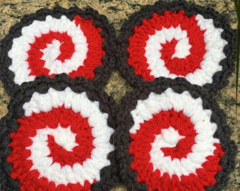 Set of 4 Crochet Coasters Plus lg Coaster/Crochet Coaster/ Red White And Grey Coasters/Coffee Cup Coaster/
