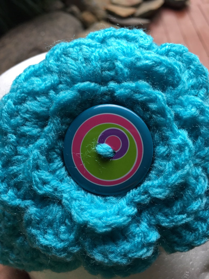 Crochet HeadbandTurq Headband6-12 Months HeadbandInterchangeable FlowersBaby Girls HeadbandCrochet Ear Warmer