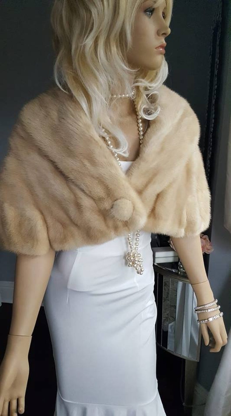 c1d3c6aaf364f Luxury Vintage Mink Fur Stole - Bridal Fur Shawl - Beige TOURMALINE Mink  Capelet Cape . Real Fur , Bridal Bolero Rustic Winter Wedding