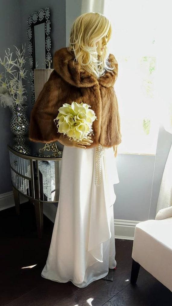 Mink Fur Coat Bolero Shrug Stole Wrap Mink Stole Shawl Jacket Fur Bridal Cape Vintage Winter Mink Wedding Luxury Bridal Fur qSgCItW