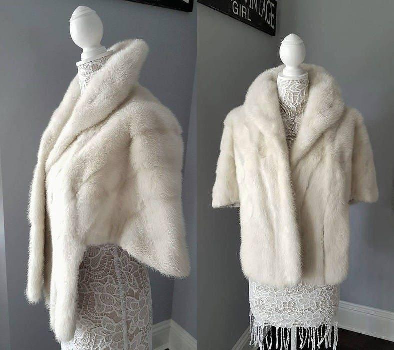 White Fur Stole >> Luxury Vintage Mink Fur Stole Mink Shawl White Fur Coat Capelet