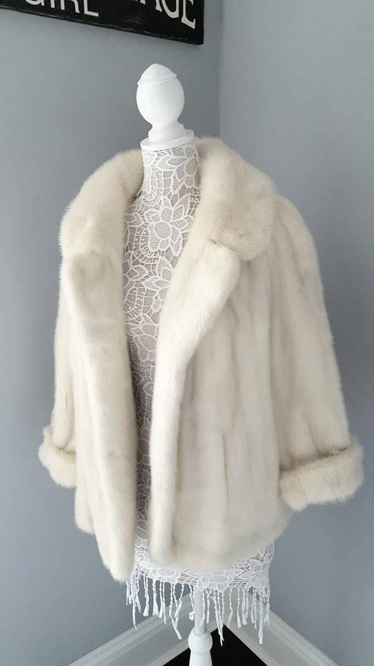 24ef3034e901 White Mink Coat - Ivory Fur Jacket - Luxury Vintage Genuine Fur ...