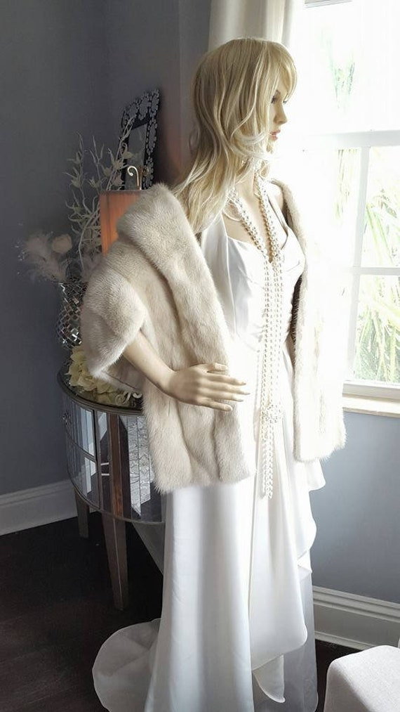 Fur Bridal Vintage Capelet Shrug Fur Shawl Cape Mink Stole Jacket Bridal Fur Fur IVORY Luxury Luxury Mink Wedding Mink Coat Wrap fwPYY