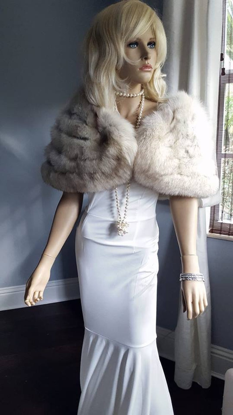 White Fur Stole >> Luxury Vintage Fox Fur Stole White Fur Wrap Fur Shawl Etsy