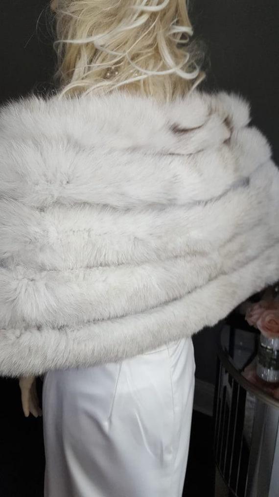Fur Wedding Shawl Wrap Luxury Fox Bridal Size Real LARGER Blue Cape Stole Fox Fur Fur Bolero Fur Bridal White Luxury Vintage Fur 7qa7BS