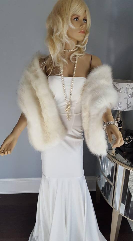 1b1058866 Luxury FAUX Fox Fur Stole - Fake Fur Shawl - White Vegan Fur Wrap ...