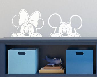 Disney Mickey Minnie Mouse Wall Decal Sticker Peeking / Disney Nursery Bedroom Custom Vinyl Decal Wall Art