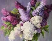 Lilac flowers in a glass.Floral oil painting original Wall decor. . Still life realistic artwork