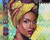 African american art canvas.African woman wall art.African woman painting.Woman painting canvas.Surreal painting original.Colorful artwork.
