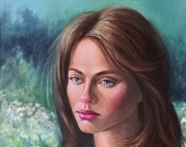Oil portrait of a girl with long red hair in a green cape against the backdrop of a landscape. Author's unique painting.