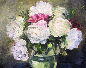 Abstract impasto Floral oil painting original Artwork. Flowers in a glass vase. Floral still life. Wall decor. Interior painting.