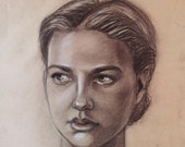 Custom Realistic portrait from photo Pencil Sepia Charcoal Graphite Kraft paper. Original artwork
