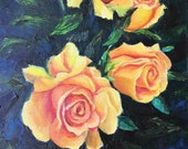 Yellow Roses Oil Painting Original.Gold Flowers still life On a dark blue-green background. Palette knife and a brush on canvas