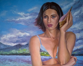Oil painting original. Nude girl with a shell on the seashore in a swimsuit. Sea landscape painting. Figurative artwork