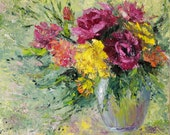 Abstract painting original flower painting large.Impressionist art.Abstract floral wall art.Oil painting flowers original.Floral still life