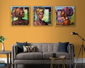 Three paintings set.African motives.Triptych wall art.African American black girls on an abstract background.Surreal composition.