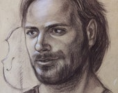 Cellist Stjepan Hauser, Sepia Graphite Portrait on Kraft Paper,Famous Musician,Handsome Man Gift Music Lovers