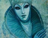 Venice Carnival painting. Original venetian masks oil painting original artwork. Portrait painting woman. Aquamarine color painting