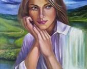 Figurative women art.Portrait oil painting original.Surreal painting