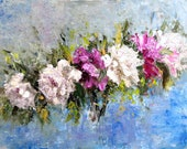 Abstract oil floral paiting original. Peonies flowers on mdf panel.Large wall decor painting.