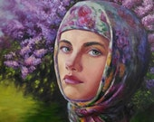 Original woman portrait painting.Figurative artwork.Original modern canvas wall art