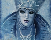 Original venetian masks oil painting artwork. Venice Carnival painting. Portrait painting woman. Aquamarine color painting absract